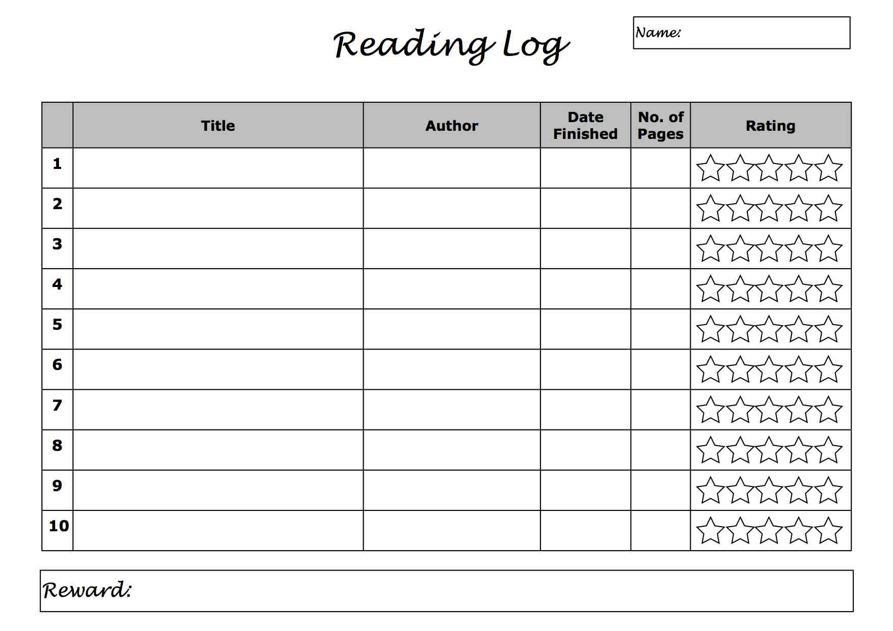 summer reading log template.html