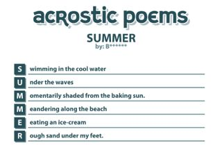 Summer Acrostic Poem